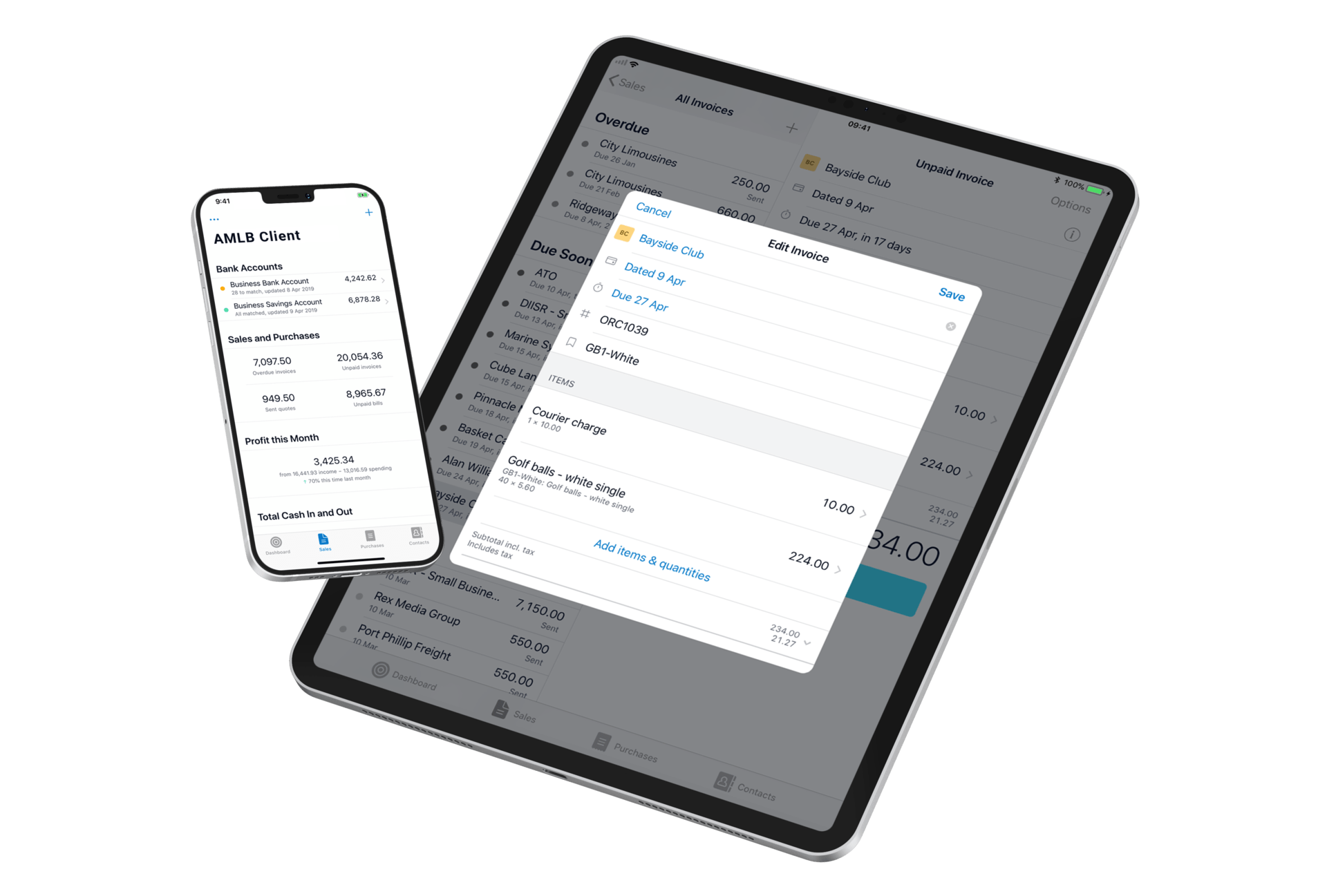 Mobile devices floating with Xero accounting dashboards displayed on the screens